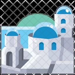 Blue domed church in santorini Icon