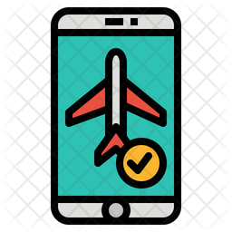 Booking Flight Ticket Colored Outline Icon