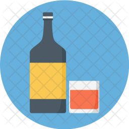 Bottle, And, Glass, Wine, Vodka, Drink, Alcohol, Whiskey Icon