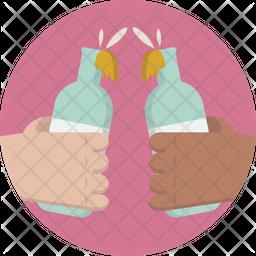 Bottle Toast Flat Icon