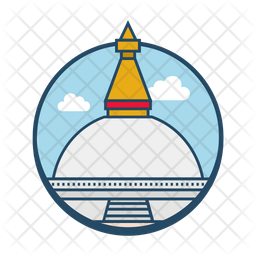 Boudhanath Nepal Colored Outline Icon