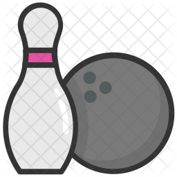 Bowling Ball Colored Outline Icon