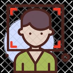Boy Portrait Colored Outline Icon