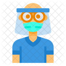 Boy With Face Shield Icon