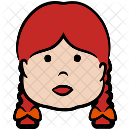 Braid Girl Colored Outline Icon