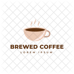 Brewed Coffee Colored Outline  Logo Icon