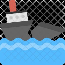 Broken Ship Flat Icon