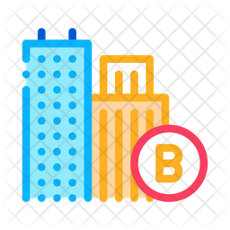 Built Residential Buildings Colored Outline Icon