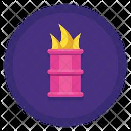 Burning Barrel Flat Icon