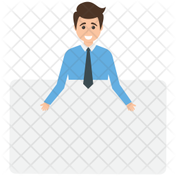 Businessman with Placard Icon
