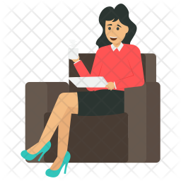 Businesswoman with Coffee Icon