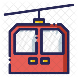 Cable car Colored Outline Icon