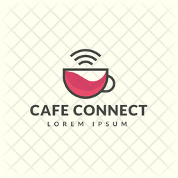 Cafe Connection Colored Outline  Logo Icon