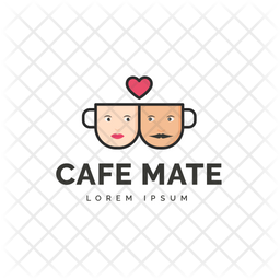 Cafe Mate Colored Outline  Logo Icon