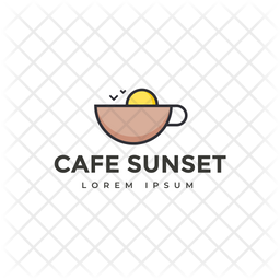 Cafe Sunset Colored Outline  Logo Icon