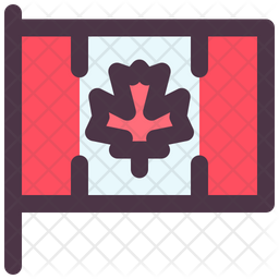 Canadian Flag Colored Outline Icon