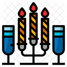 Candle Dinner Colored Outline Icon