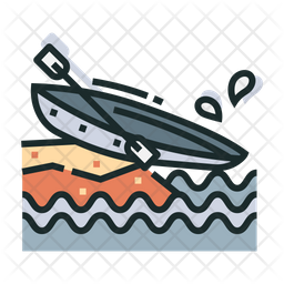 Canoe Colored Outline Icon