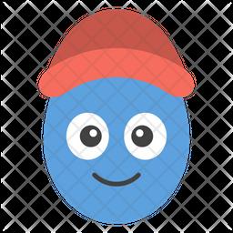 Cap Egg Smiley Emoji Icon