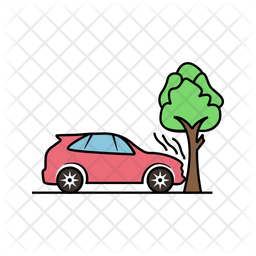 Car Accident With Tree Icon