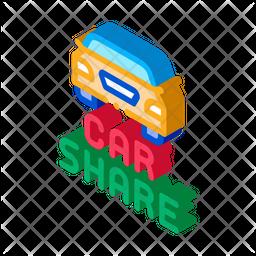 Car Share Isometric Icon