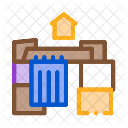 Cardboard House Colored Outline Icon