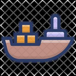 Cargo Ship Colored Outline Icon