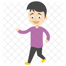 Cartoon Boy Walking Icon