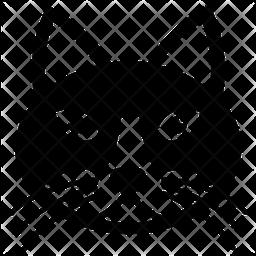 Cartoon Cat Glyph Icon
