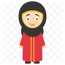 Cartoon Muslim Girl Icon
