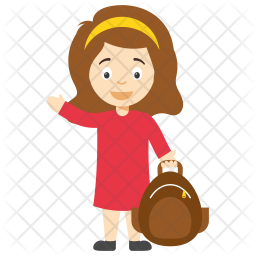 Cartoon School Girl Icon