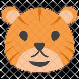 Cartoon Tiger Flat Icon