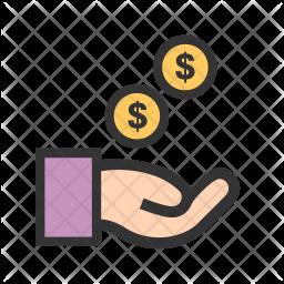 Cash Colored Outline Icon