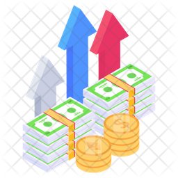 Cash Growth Isometric Icon