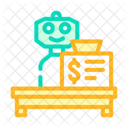 Cashier Robot Colored Outline Icon