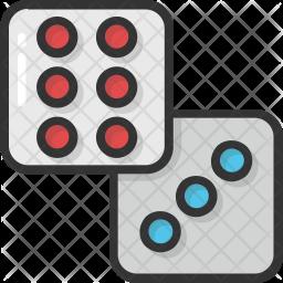 Casino dice Colored Outline Icon