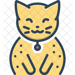 Cat Colored Outline Icon