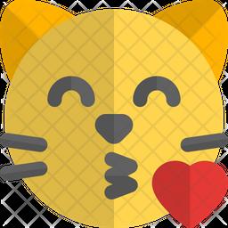 Cat Blowing A Kiss Gradient  Emoji Icon
