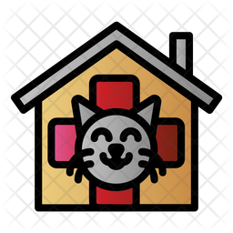 Cat Clinic Colored Outline Icon