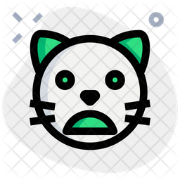 Cat Frowning Open Mouth Colored Outline  Emoji Icon