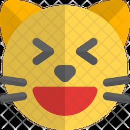 Cat Grinning Squinting Gradient  Emoji Icon
