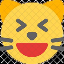 Cat Grinning Squinting Emoji Icon