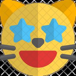 Cat Star Struck Gradient  Emoji Icon