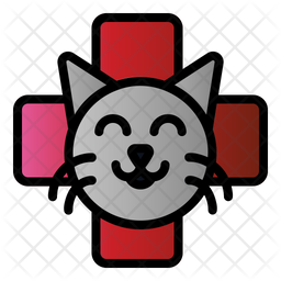 Cat Veterinary Colored Outline Icon