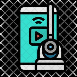 Cctv Mobile Remote Colored Outline Icon