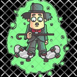 Charlie Chaplin Skating Icon
