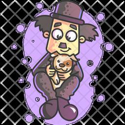 Charlie Chaplin With Pet Dog Icon