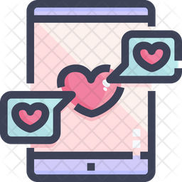 Chat Love Colored Outline Icon
