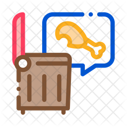 Chicken Food Colored Outline Icon