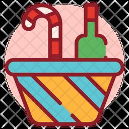 Christmas Basket Colored Outline Icon